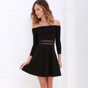 Lulu's Yes to Mesh Black Skater Dress